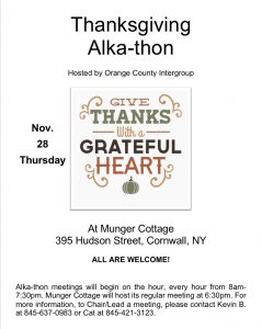 Thanksgiving Alkathon @ Munger Cottage